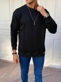 İki İplik Oversize Pamuklu Siyah Sweatshırt