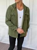 Kadife Fitil Desen Oversize Kışlık Haki Gömlek