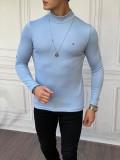 Slim Fit İtalyan Kesim Yarım Balıkçı Buz Mavisi Boğazlı Kazak