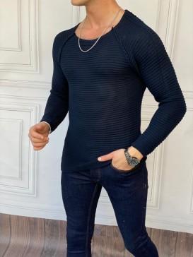 Slim Fit Çelik Örme Açık Yaka Lacivert Kazak