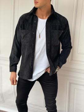 Yüksek Kalite Fitil Desen Siyah Kadife Gömlek
