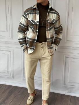 %100 Yün Kaşe Yüksek Kalite Desenli Krem Kışlık Oversize Gömlek